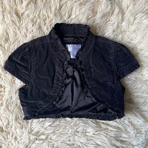 Black velvet shrug with ruffles - Holiday - Sz 8